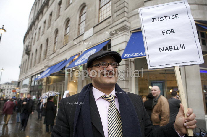Nabil Guirguis, manager sacked by the Pizza Express restaurant chain for joining a trade union demonstration calling for fair distribution of restaurant tips. The company dismissed him for talking to the media about the company practice of deducting an 8 per cent �administrative charge � from tips left for waiters on customer credit cards. - Duncan Phillips - 2008-03-14
