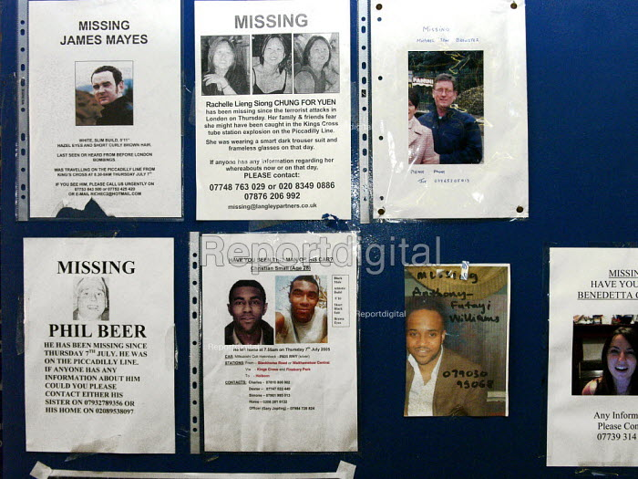 Missing posters. Kings Cross station for the victims of terrorist attack,london. - Duncan Phillips - 2005-07-14