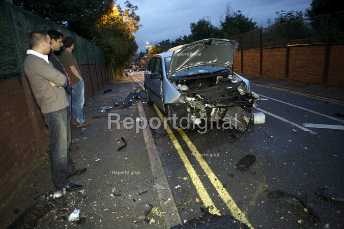 Debris of crashed car after hitting a railway bridge, London - Duncan Phillips - 2008-07-11