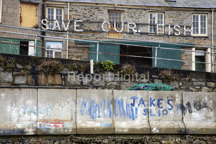 Save our Fish! Sign, Newlyn, Cornwall. The fishing industry has been in decline due to over fishing and EU Quotas. Newlyn harbour is the largest fishing port in England - Duncan Phillips - 2011-08-17