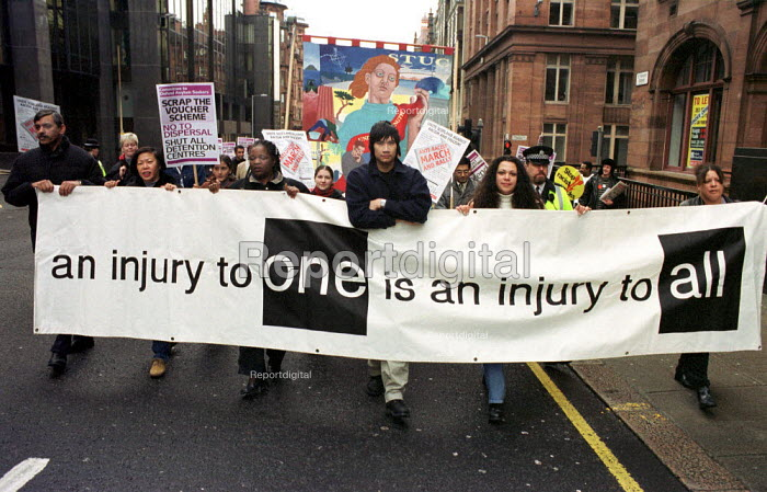 Protest in Glasgow against racism and in support of asylum seekers - Gerry McCann - 2000-11-25