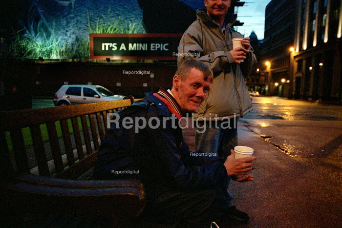 Two men at the soup kitchen, George Square, Glasgow - Gerry McCann - 2002-08-22