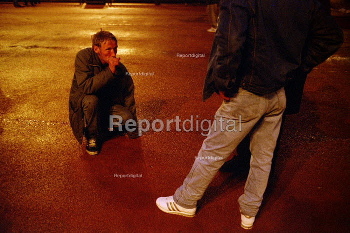 Homeless man collapses, soup kitchen, George Square, Glasgow, his illness is caused by heroin use - Gerry McCann - 2002-09-22