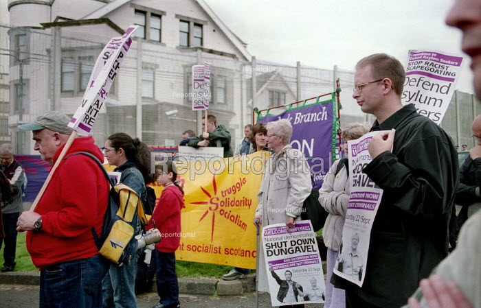 100 protesters hold a rally at Dungavel prison near Strathaven, Scotland, which is being used as a reception centre for asylum seekers. - Gerry McCann - 2001-09-22