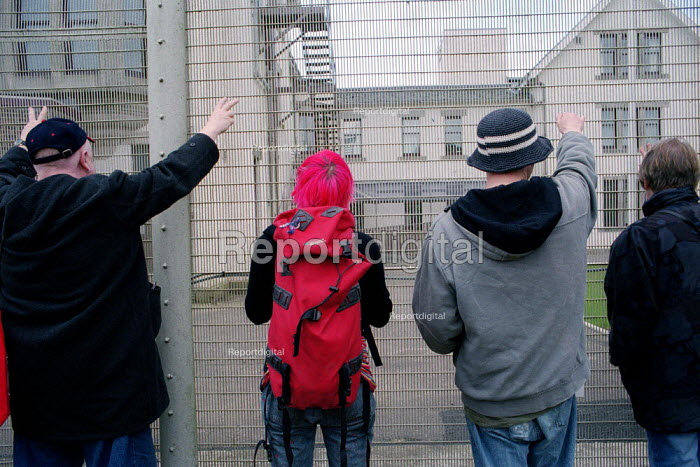 Protesters at Dungavel Prison near Strathaven in Scotland. The privately run prison is being used as a detention centre for asylum seekers. - Gerry McCann - 2002-03-17