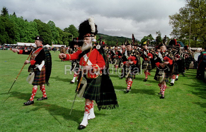 Bagpipers march at the Atholl Games in Blair Atholl, Perthshire - Gerry McCann - 2000-09-11