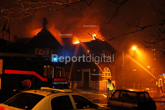 Fire attended by 3 Green Goddesses manned by soldiers during the firefighters strike. The fire was at the derelict Golden Shoe pub on the notorious Kingsmead Estate in Homerton, Hackney, London. - Geoff Crawford - 2002-11-14