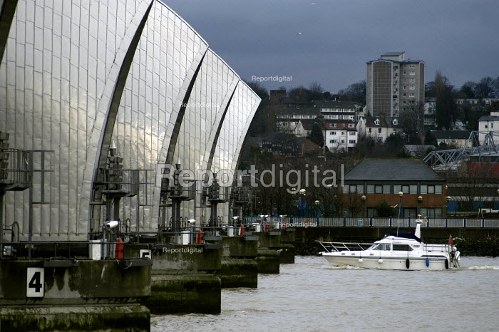 The Thames Barrier. A white boat approaches the main flood gates. - Geoff Crawford - 2003-01-02