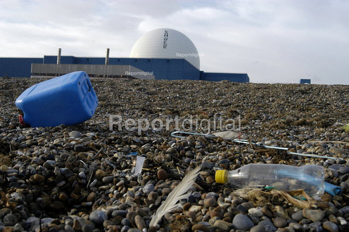 Sizewell B Power Station, Suffolk, a Pressurized water reactor and the polluted beach. The word Danger can be seen on the dome where it was painted by Greenpeace protesters earlier when they staged a break in to highlight poor security - Geoff Crawford - 2003-01-14