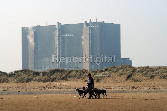 Against the background of Hartlepool Nuclear Power Station a woman walks her greyhounds on North Gare Beach, Hartlepool. - Geoff Crawford - 2003-03-24