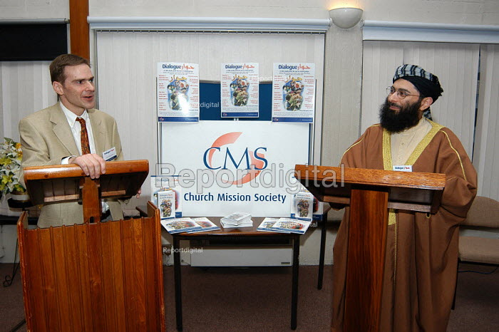 Shayk Ibrahim Mogra, chair of the Mosques and Community Affairs Committee of the Muslim Council of Britain and Islamics tutor Rev Dr Toby Howarth. He was speaking at the launch of 'Dialogue' a Church Mission Society pack aimed at promoting good relations between Christians and Muslims. - Geoff Crawford - 2003-03-26