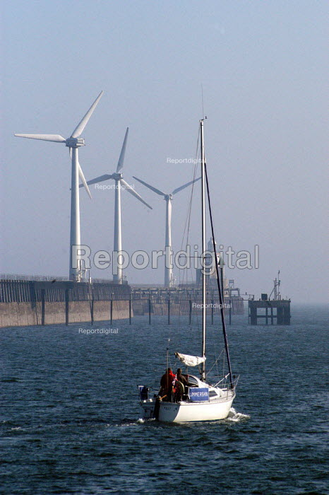 Blyth harbour wind farm near Newcastle-upon-Tyne. Blyth Offshore Wind Ltd say that the UK has enough offshore wind to supply 3 times the UK's current electricity requirements. - Geoff Crawford - 2003-03-22