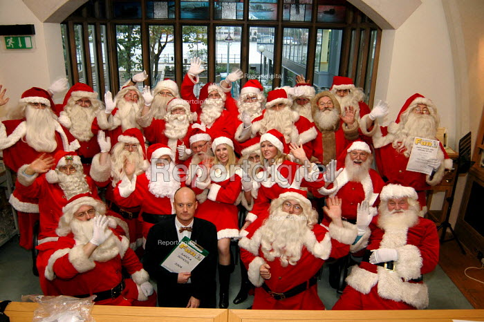 Trainee Santas at the Santa School run by the Ministry of Fun at Southwark Cathedral. Director of Ministry of Fun James Lovell says that the school is the only genuine training centre for professional Santa performers. - Geoff Crawford - 2004-11-01