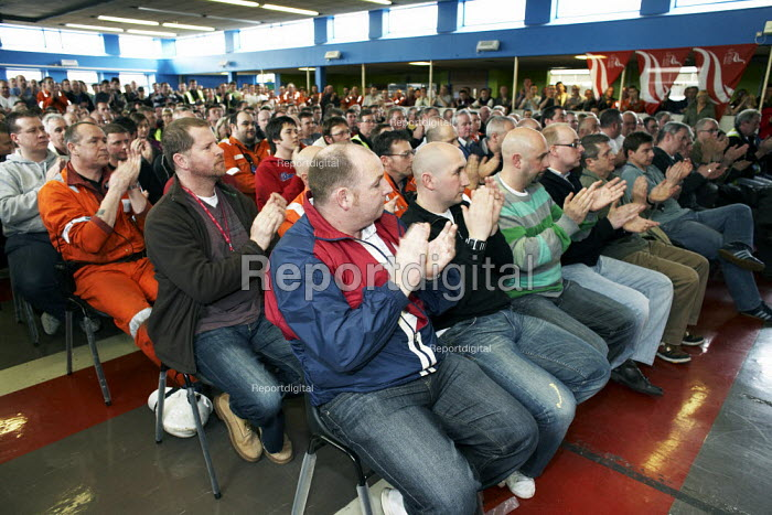 Members of Unite the union, at the mass meeting of workers at INEOS plant in Grangemouth. The meeting agreed unanimously to pursue strike action. - Gerry McCann - 2008-04-25