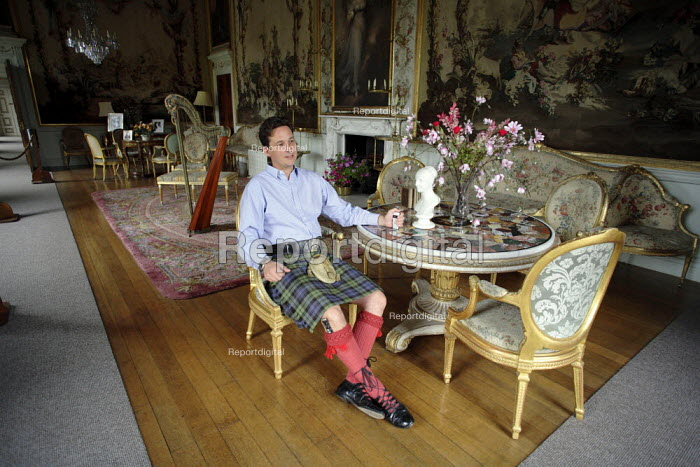 Torquhil Ian Campbell otherwise known as the Duke of Argyll, wearing a kilt and photographed at Inverary Castle, Argyll, Scotland. - Gerry McCann - 2006-05-19