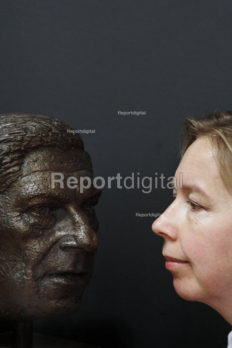 The bronze bust of journalist, novelist, and philosopher Arthur Koestler is housed in the Department of Parapsychology at the University of Edinburgh. Seen here also is Dr. Caroline Watt who is senior lecturer in the unit. - Gerry McCann - 2006-06-29