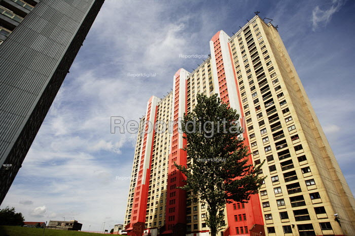 Social housing in Glasgow, currently owned and run by the GHA or Glasgow Housing Association. This is the Red Road Flats in Barmulloch, among the highest in Europe. - Gerry McCann - 2006-06-06