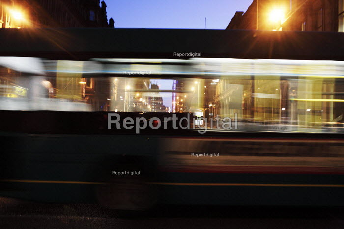 Buses at night in Glasgow city centre. - Gerry McCann - 2006-06-07