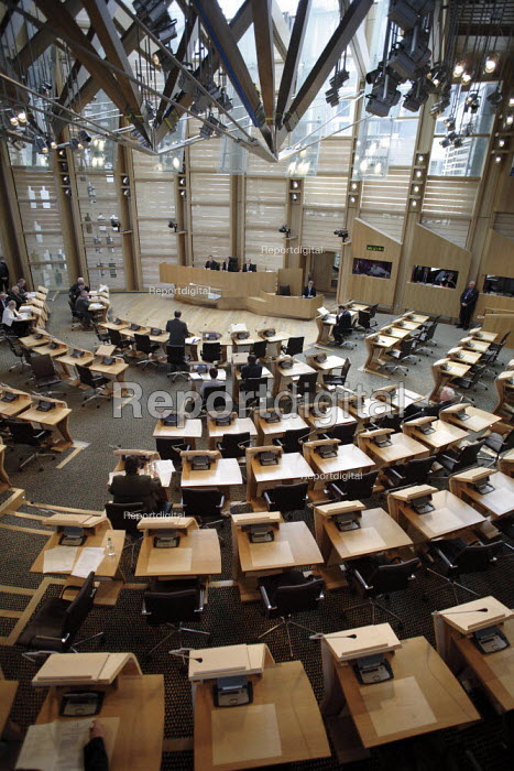 MSP and benches in the debating chamber in the Scottish Parliament. - Gerry McCann - 2006-05-24