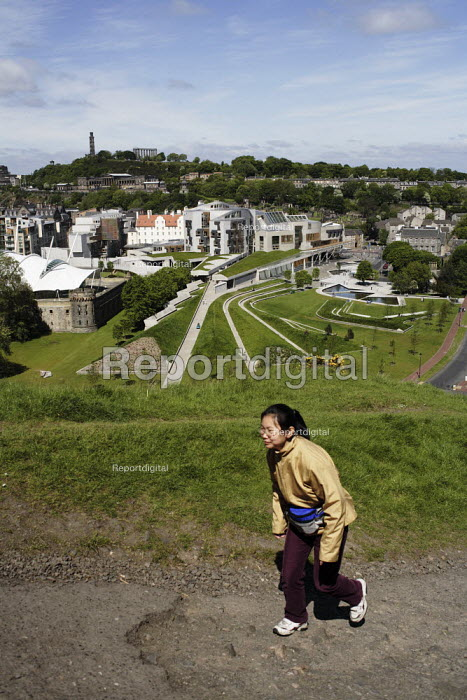 A view of the Scottish Parliament as seen from above on Arthur's Seat. In the background can be seen the classical architecture on the volcanic base of Calton Hill. - Gerry McCann - 2006-06-03