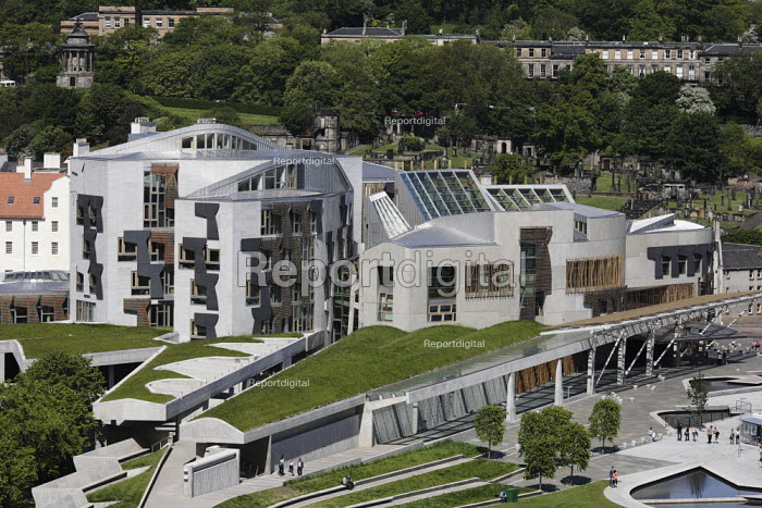 A view of the Scottish Parliament as seen from above on Arthur's Seat. - Gerry McCann - 2006-06-03