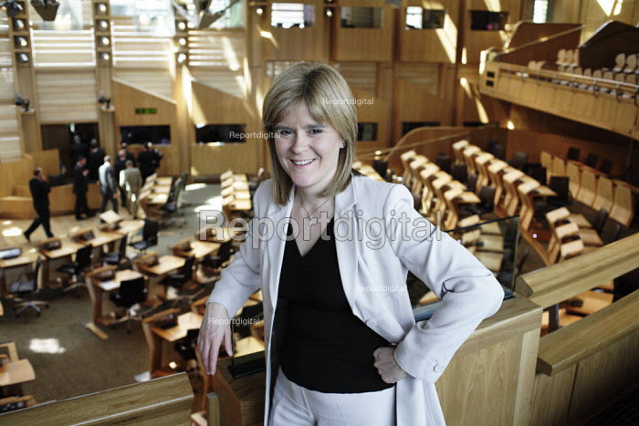 Nicola Sturgeon, leader in the Scottish Parliament, of the SNP, in the debating chamber of the Parliament in Edinburgh. - Gerry McCann - 2006-06-08