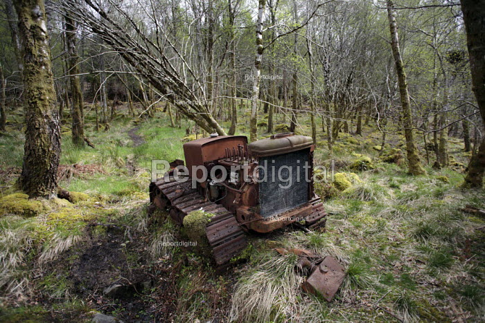 Forestry has long been a core activity in the Knoydart Peninsula in North-West Scotland, as evidenced by this old tractor in the woods behind Inverie. - Gerry McCann - 2006-05-03