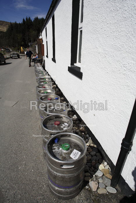 The Old Forge, Inverie, Knoydart Peninsula, Scotland. The most remote pub in Britain it is famous for serving real ales, a large number of empty beer barrels - Gerry McCann - 2006-05-05