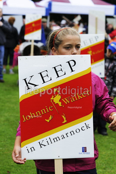Twenty thousand people marched through Kilmarnock, Scotland, to protest at the threatened loss of 900 jobs at the Johnnie Walker whisky plant in the town owned by Diageo. - Gerry McCann - 2009-07-27
