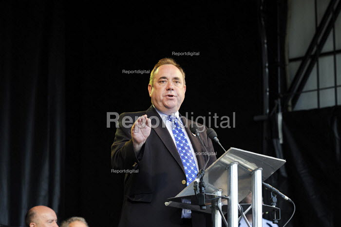 Twenty thousand people marched through Kilmarnock, Scotland, to protest at the threatened loss of 900 jobs at the Johnnie Walker whisky plant in the town owned by Diageo. At a rally they were addressed by Alex Salmond SNP. - Gerry McCann - 2009-07-27