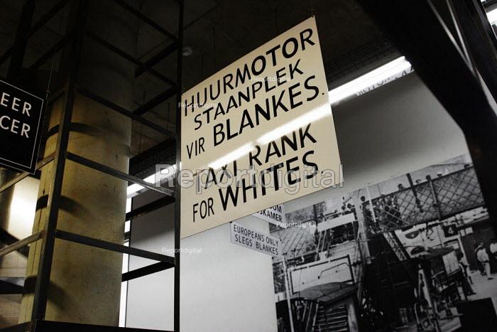 Apartheid Era taxi rank sign in the Apartheid Museum in Johannesburg, South Africa. - Gerry McCann - 2005-04-20