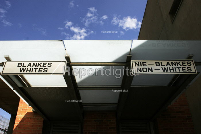 Apartheid Era signs at the entrance to the Apartheid Museum in Johannesburg, South Africa. Whites only. - Gerry McCann - 2005-04-20