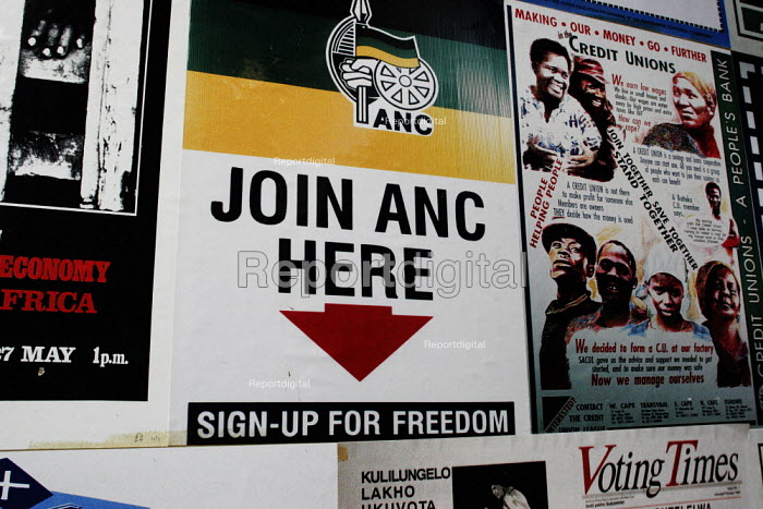Archive images in the Apartheid Museum in Johannesburg, South Africa. Recruitment poster for the ANC - sign up for freedom - Gerry McCann - 2005-04-20