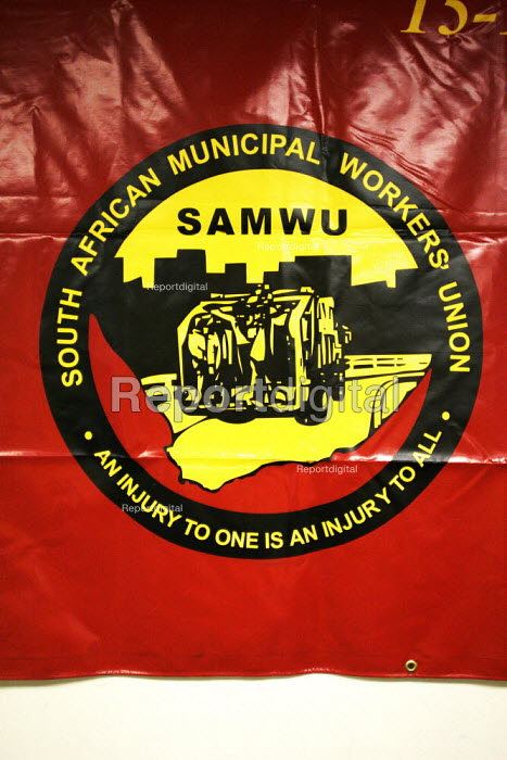 SAMWU banner in the offices of COSATU (Congress of South African Trade Unions) in Johannesburg, South Africa. - Gerry McCann - 2005-04-21