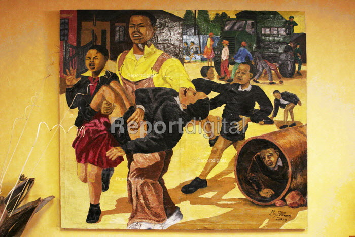 Artwork depicting unrest and police shootings in the Apartheid era in the offices of COSATU ) in Johannesburg, South Africa. - Gerry McCann - 2005-04-21