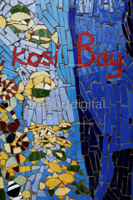 This mosaic is at the entrance to the Visitor Centre at Kosi Bay.At iSimangaliso Wetland Park, on South Africas east coast (also called Elephant coast). - Gerry McCann - 2005-05-02