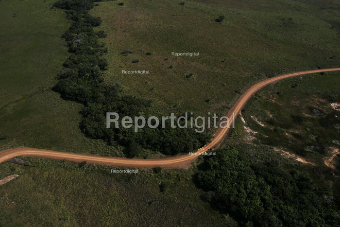 An aeriel view of a car traveling throuh iSimangaliso Wetland Park, on South Africas east coast (also called Elephant coast). - Gerry McCann - 2005-05-02