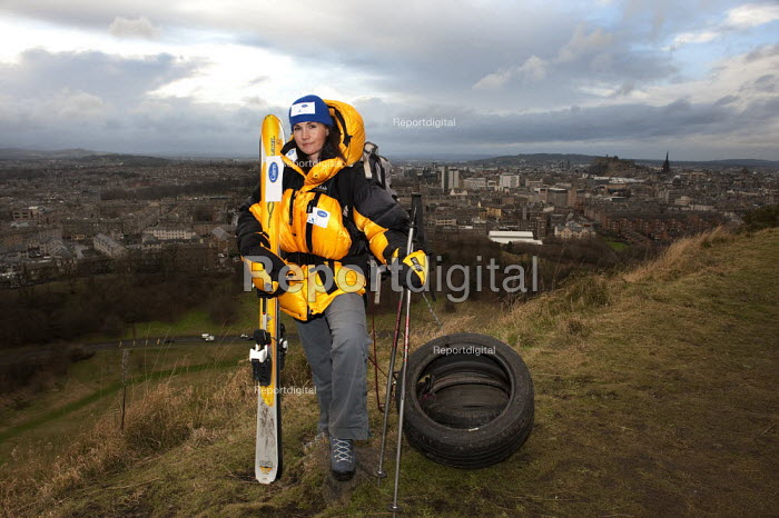 Fiona Lindsay is planning to be the first woman to make a crossing of the Antarctic in November 2009. She training by dragging old tyres on the Edinburgh's Salisbury Crags. - Gerry McCann - 2009-01-17