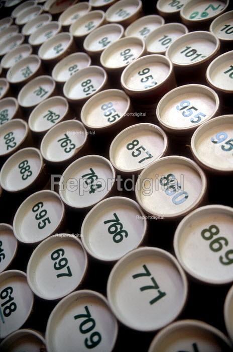 Numbered cardboard tubes containing print artwork, print works. - John Harris - 2002-03-06