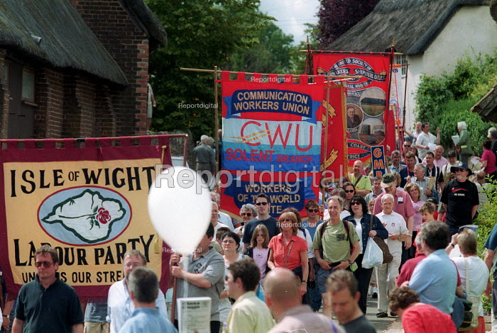 Isle of Wight Labour Party branch banner, and CWU banner Tolpuddle Martyrs Festival Dorset. - John Harris - 2002-07-21