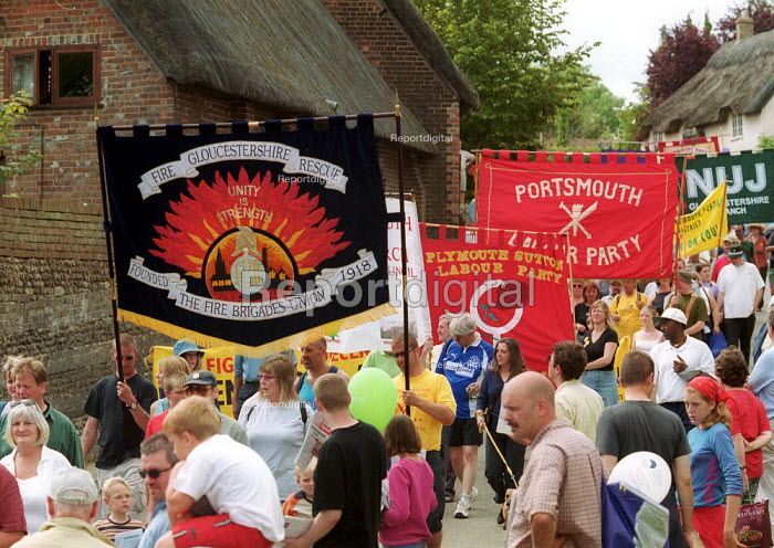 FBU and Labour Party banners. Tolpuddle Martyrs Festival Dorset. - John Harris - 2002-07-21
