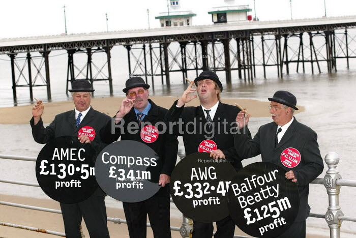 Fat Cat businessmen on Blackpool's promenade at the GMB General Secretary John Edmonds called on the Prime Minister to condem the Privatisation Pay Pirates involved in the Government's PFI initiative.