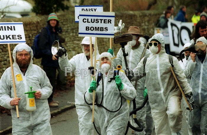 Anti war protest, led by spoof weapons inspectors from Gloucestershire. USAF Fairford air base. - John Harris - 2002-12-14
