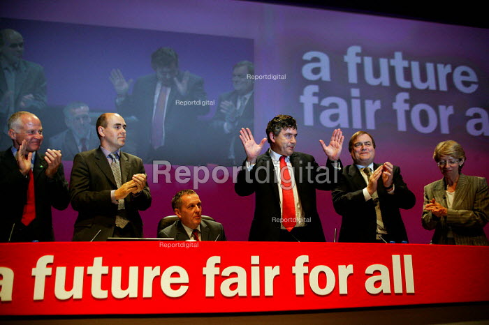 Gordon Brown MP getting a standing ovation at the end of his speech, Labour Party Conference 2003 - John Harris - 2003-09-29