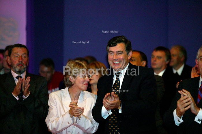 Gordon Brown applauding Tony Blair MP speaking at Labour Party Conference 2003 The leader's speech. - John Harris - 2003-09-30