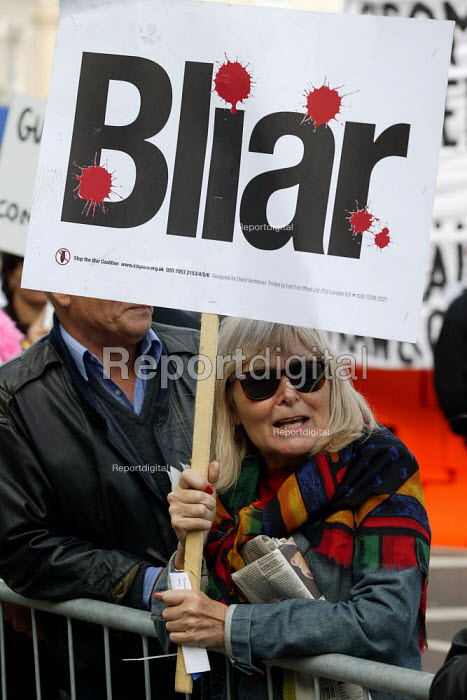 Anti war protest outside Labour Party Conference 2003. Placard says BLIAR. - John Harris - 2003-09-30