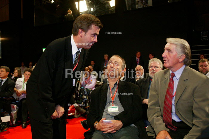 NEC members Mark Seddon, Tony Robinson and Dennis Skinner MP Labour Party conference 2003 - John Harris - 2003-10-01