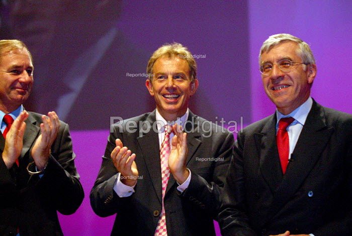 Geoff Hoon MP, Tony Blair and Jack Straw ovation, Labour Party conference 2003 - John Harris - 2003-10-01