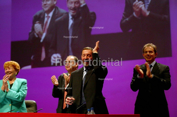 Lord Falconer, David Blunkett MP and Tony Blair ovation at Labour Party conference 2003 - John Harris - 2003-10-02