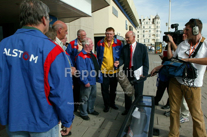 TV crew filming Roger Lyons MSF with Alstom workers protesting at job losses at the Washwood Heath. TUC Congress 2003 - John Harris - 2003-09-08